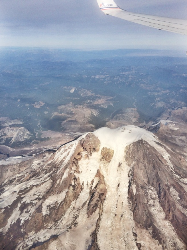 View of Mount Rainier from the plane at 26,000 ft.