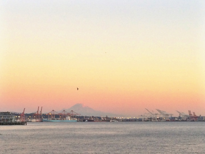 Sunset at Kerry Park in Seattle. You can see Mount Rainier in the distance.