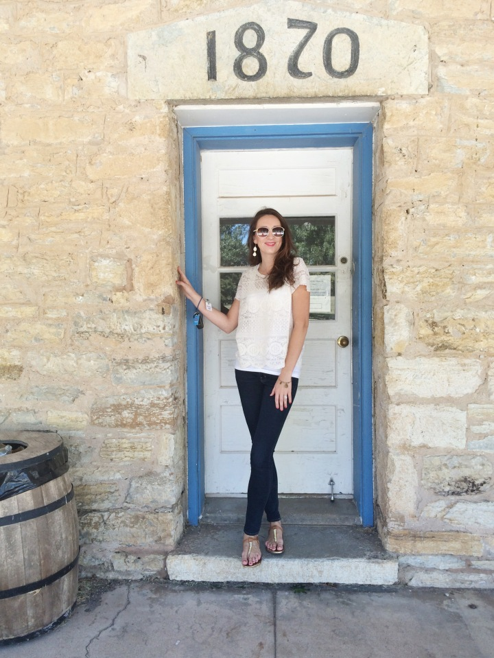Standing outside of what used to be the barracks... Kind of like a big dorm room for soldiers. Barracks are still used today for single soldiers or soldiers who are stationed on post, temporarily, for school and training.